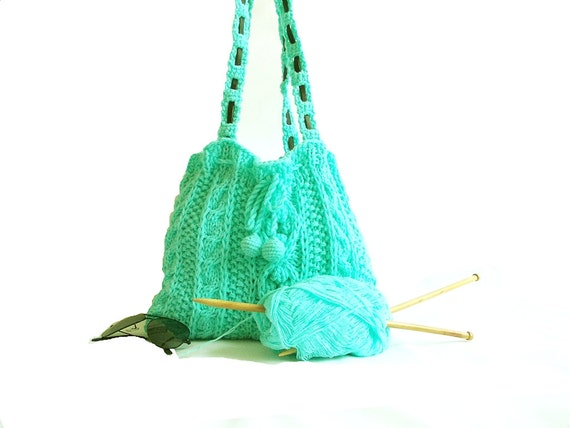 Knitting green bag- Turquoise green blue handbag- Useful bag- Autumn bag- Fall handbag- Daily bag- Pompom bag