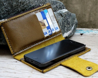 iPhone5/ Olive leather iPhone wallet with case and mini zip