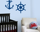 Sailboat Nautical Nursery - Ships Wheel and Anchor Decals - Nursery Vinyl Wall Decals