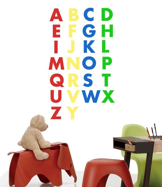 ABC Wall Art, Kids Decal, Alphabet Letters, Kids Room Decor, Alphabet Wall Art, ABC Wall Decals, Play Room Decor, Back To School - ID261 [p]
