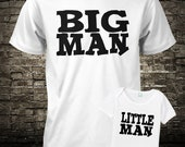Father and Son Shirt Set Big Man Little Man Boys Kids Tee Youth Teen T Shirt Fathers Day S M L XL 6 Months 12 Months 18 Months 24 Months L