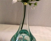 Glass Paper Weight Bud Vase, Clear and Blue Blown Swirly Glass, Retro Bud Vase, Shabby Chic, Home Decor Vase