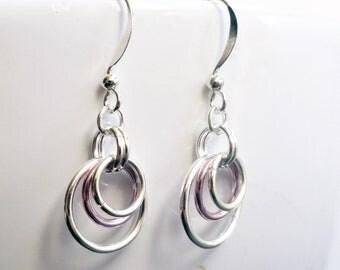Chainmaille earrings - pink earrings - orbit earrings - illusion earrings - silver chainmaille - silver hoop earrings - pink chainmaille