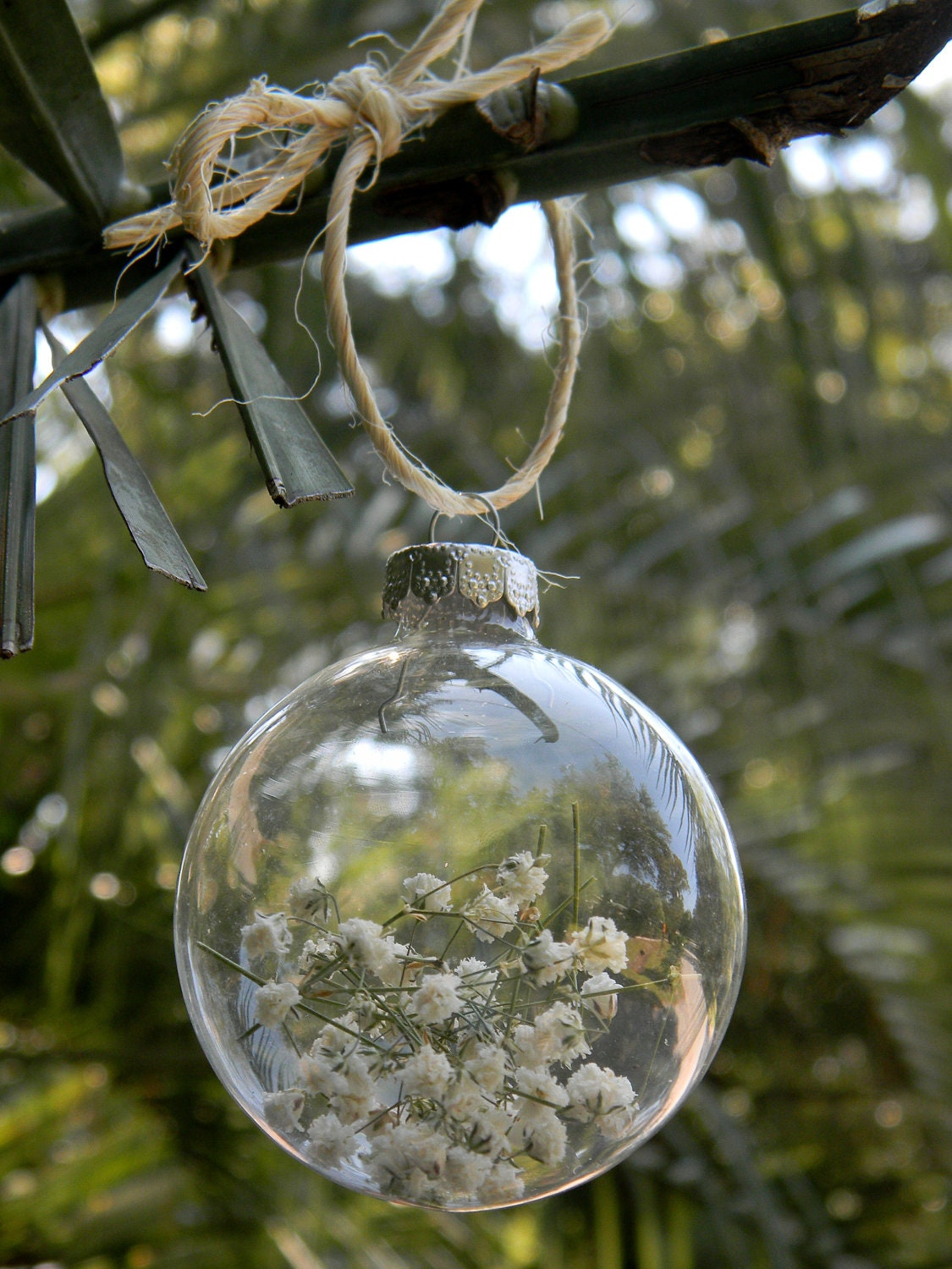 rustic baby u0026 39 s breath clear glass ball by charlestoncharms on etsy