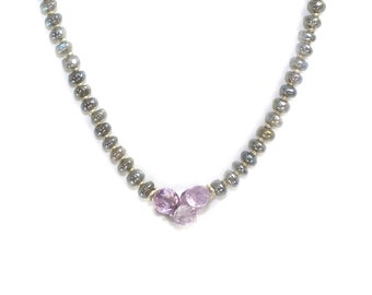 Labradorite Necklace. Lavender amethyst Necklace. Labradorite and Pink Amethyst. Sterling Necklace. Beaded Necklace.