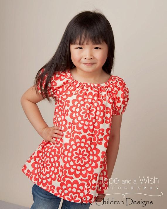 Lotus Cherry - Sweet Pea Dress - Autumn Kids Fashion - Girls Clothing - Girls Peasant Top - Toddler Dress - Top Pattern -12M to 6T