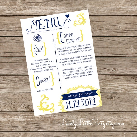 DIY Printable Vintage Flyer Style WEDDING MENU - Lovely Little Party - You Choose Color