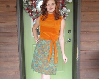 1960's Mod Dress / Orange Velvet Dress / 60's Mini Dress