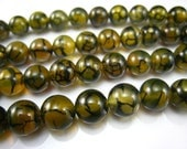 yellow dragon vein agate round bead 10mm 15 inch strand