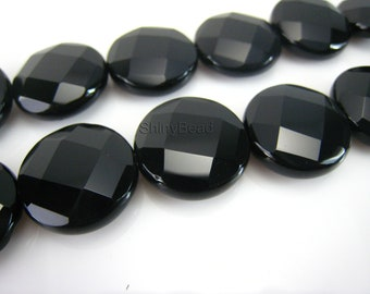 high quality black onyx faceted coin 18mm 15 inch strand