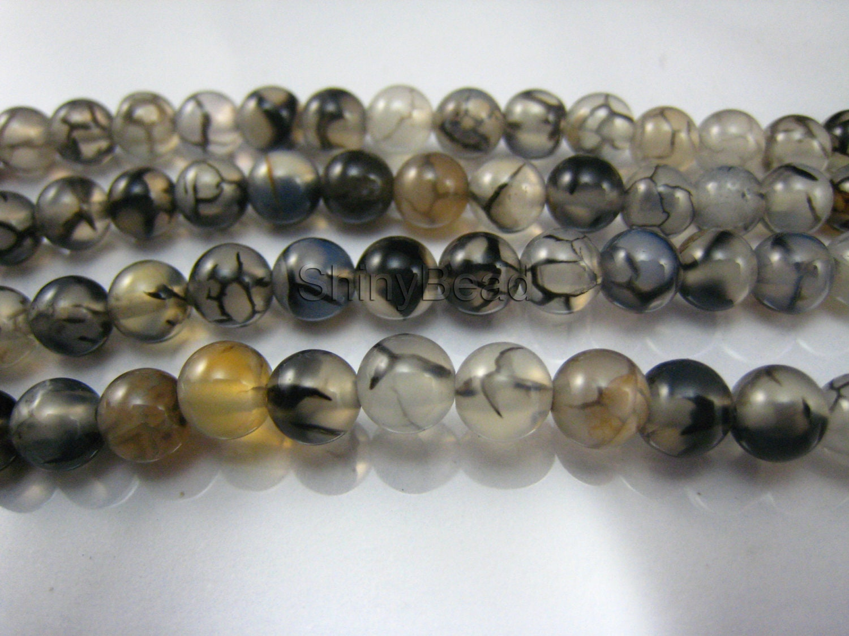 black vein agate bead 6mm 15 inch strand