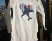 Custom-Made order for Nichole: Appliqued C-17/Heart Set, Shirt & Onesie