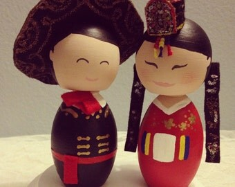 Custom (Traditional Korean Bride and Mexican Groom) Wedding Cake Toppers