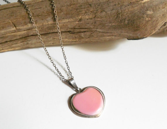 Vintage necklace, sterling heart pendant- pink stone jewelry