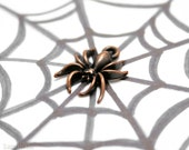 Copper Spider Charm, Halloween Pendant 18mm (10) Scary Anituqed Metal Beads