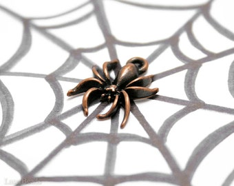 Copper Spider Charm, Halloween Pendant 18mm (10) Scary Anituqed Metal Beads last