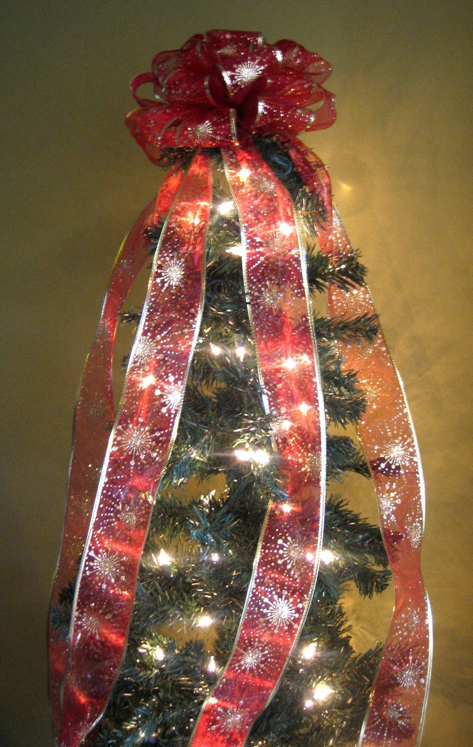 Red/Gold Christmas Tree Bow Topper Tree Topper with 7 FT