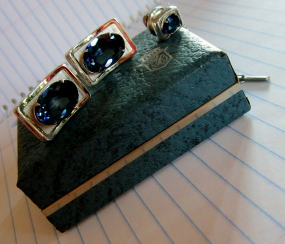 Vintage Balfour Silver Blue Cufflinks TieTack Originial Jewelry Case