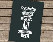 Creativity & Art - Typography Letterpress Design Print onto Recycled Pulp Board Inspirational Postcard Art