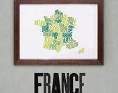 France Font Map. Limited Edition Digital Print, 420x297mm