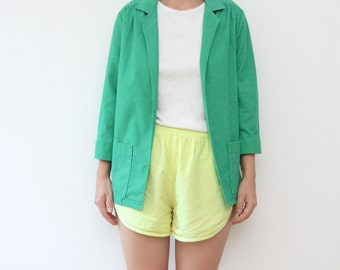 Vintage green linen women summer jacket / blazer