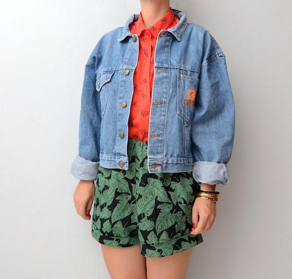 Vintage cropped blue denim California jacket