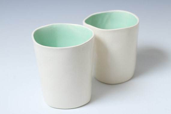 30% off Sale Turquoise and White Pottery Handmade Ceramic