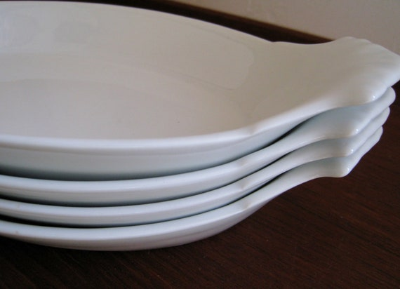 Mid Century Apilco French  au gratin dishes made from white porcelain France