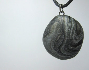 Polymer Clay Jewelry Black and Silver Swirl Necklace, Pendan