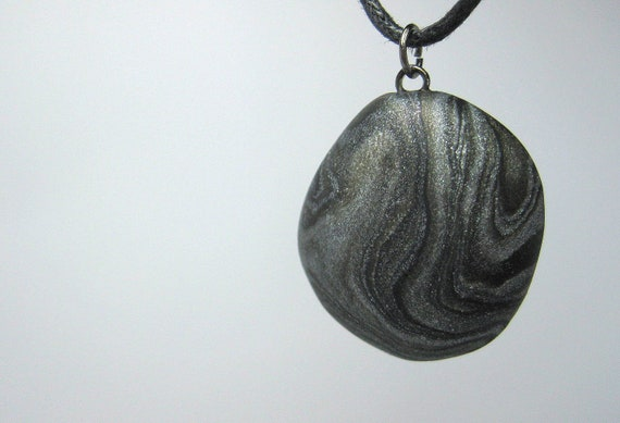 Black and Silver Swirl Necklace, Handmade Polymer Clay, Jewelry, Pendant