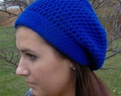 Crochet Slouchy Hat Royal Blue Choose Size and Color Winter Accessory Beret