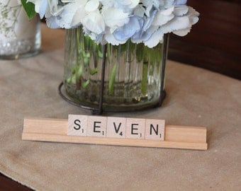 Scrabble Wedding Table Sign Numbers