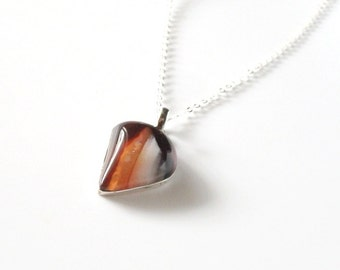 Brown Botswana Agate Sterlin SIlver Necklace -French Roast/Holiday Shopping/Gifts Under 40/OOAK/Gemstone Jewlery/Woman's Jewelry