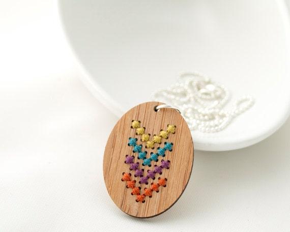 Modern Cross Stitch Kit - Bamboo Pendant with Multicolor Chevron Pattern