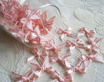 Lovely Pink Ribbon, pink and Gold bow 50 pcs., bow applique, fabric rose, ribbon, fabric bow, wedding, party, gift for her, party