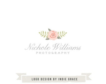 Custom PreDesigned / pre-made organic floral photogrpahy or boutique logo