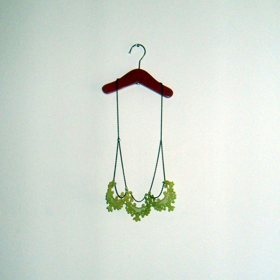 Vintage Lace Necklace in Lime Green Neon Jewelry Upcycled Unique Gift for Her Christmas