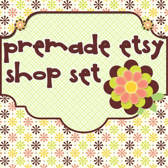 Premade Etsy Shop Image Set - Design 21 Groovy Flowers