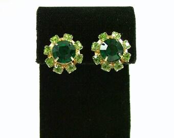 Emerald and Peridot Green Rhinestone Clip On Earrings