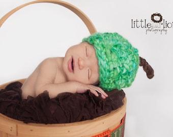 SALE Newborn Fall Green Apple Handspun Merino Thick and Thin Crochet Baby Hat OOAK Ready to Ship RTS