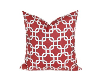 Coral Throw Pillows ONE 18x18 Pillow Cover.Coral and White.Damask.Pink coral Pillow.Decorator Pillow covers. Printed fabric both sides