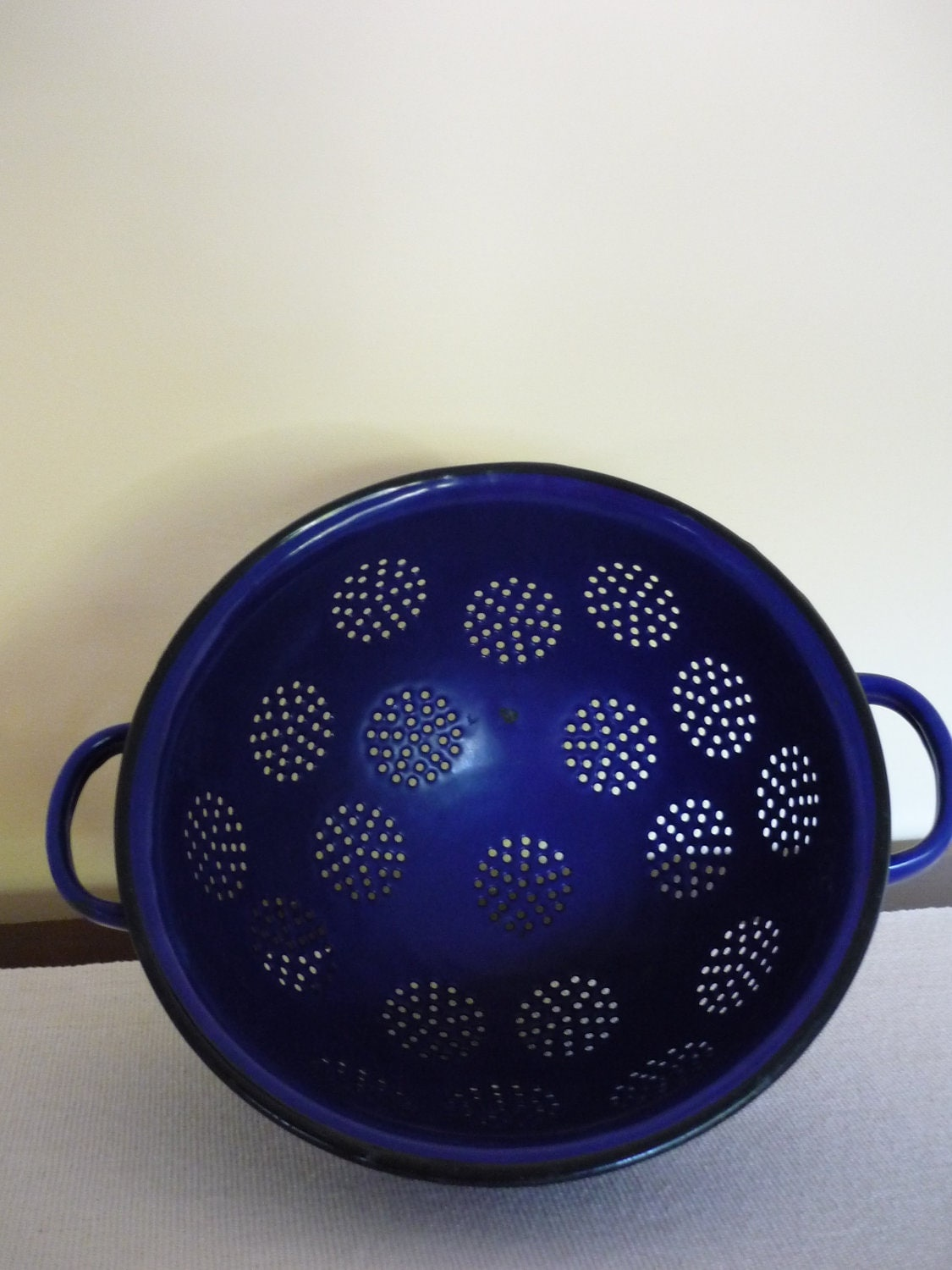 Vintage French Enamel Colander Cobalt Blue Kitchen Decor