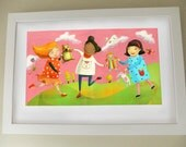 "Illustration print for little girl's room - Ring around the rosy - Children's art 17""x11"" - JaneySuperette"