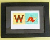 Whale illustration with initial W for kids room - giclee print 11x17