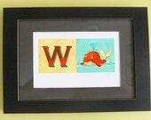 Whale illustration with initial W for kids room - giclee print 8x10 - JaneySuperette