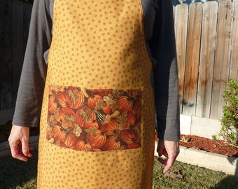 Pumpkin Reversing to Fall Leaves Fabric Holiday Apron