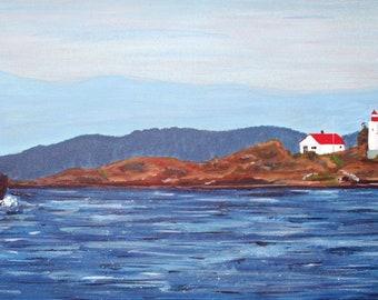 Tug Boat Off Merry Island Lighthouse, Original Nautical Painting 36x12
