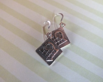 Quilt Jewelry  - Sterling Silver Earrings with a knitting, sewing, quilting theme - Basket Quilt