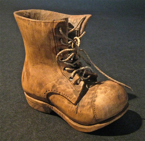 RESERVED For Helen NOT for SALE  Old Handcarved Boot With Real String