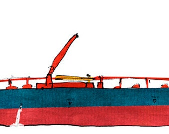 crude oil tanker Ice Base: ship print / nautical illustration